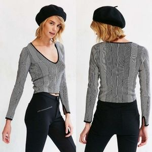 Silence + Noise Deep  V-Neck Striped Sweater